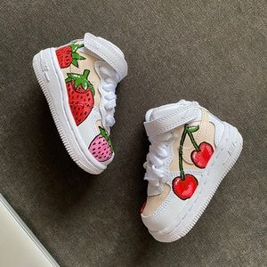 Baby/Toddler Size 3 Handpainted Air 1s 🍓🍒